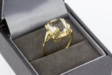 14 Karaat geel gouden ring gezet met gele Citrien