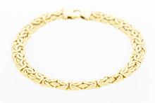 Geel gouden gewalste koningsarmband - 19,5 cm