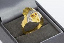 """14 karaat bicolor gouden Statement ring met """"Indiaan"""""""