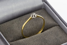 14 karaat bicolor gouden Solitair ring met Diamant