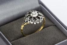 14 Karaat gouden bicolor Rozet ring gezet met Diamant