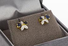14 Karaat gouden oorstekers met Saffier & Diamant