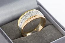 18 Karaat tricolor gouden Bandring gezet met Diamant