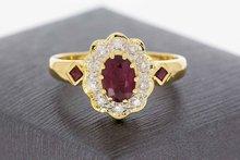 18 Karaat geelgouden Entourage Ring met Robijn en Diamant