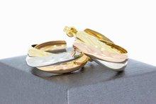 18 Karaat tricolor gouden Creolen - Cartier style -