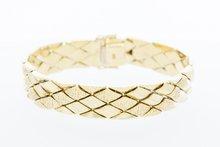 14 karaat geelgouden gefigureerde brede armband- 19 cm