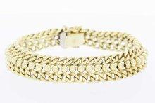 14 Karaat gouden gevlochten Gourmet armband- 19,6 cm