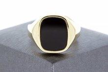 14 Karaat geelgouden Zegelring gezet met zwarte Onyx