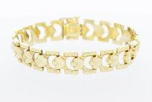 14 Karaat geelgouden brede schakelarmband - 20 cm