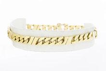 14 karaat gouden gewalste Gourmet schakelarmband- 23,0 cm