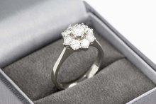 18 karaat witgouden Rozet ring gezet met Diamant (1.06 crt)