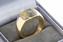 14 karaat bicolor gouden Statement ring gezet met Zirkonia