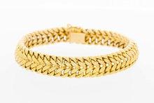 18 Karaat geelgouden dubbele gourmet armband - 18,5 cm