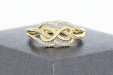 14 Karaat gouden Fantasie Infinity ring gezet met Diamant