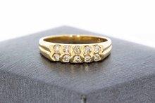 14 Karaat geelgouden Rijring met dubbele rij Diamant